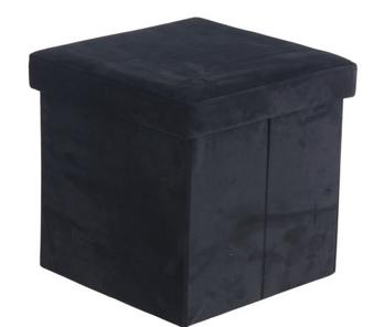 Foldable Black Storage Stool