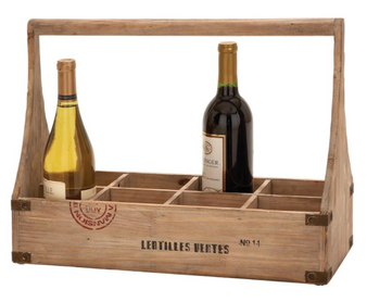 Farmhouse Wood Wine Basket