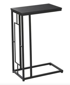 Rectangular Black Metal & Wood Accent Table