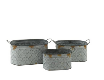 Grey Metal Oval Planters (Set of 3)