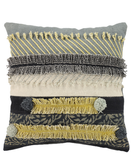 Grey & Gold Multi-Patterned Decorative Pillow