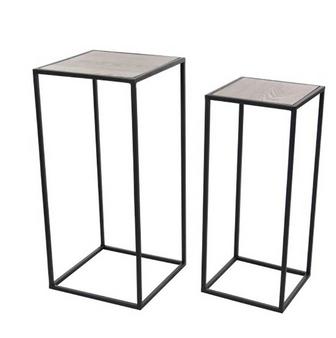 Black Metal & Wooden Top Side Tables (Set of 2)