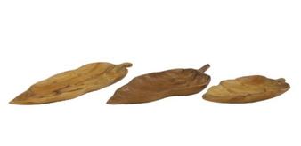 Teak Wood Leaf Trays (Set of 3)