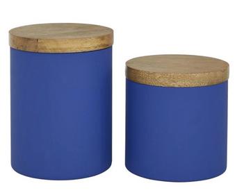Royal Blue Glass Jars (Set of 2)