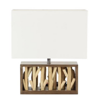 Natural Wood Branches Table Lamp In White