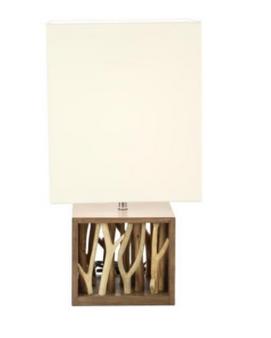 Natural Wood Branches Table Lamp (Rectangular Shade)