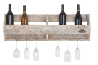 Whitewashed Wood Glass & Wine Wall Rack