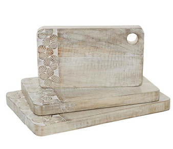 Whitewashed Wood Cutting Boards (Set of 3)