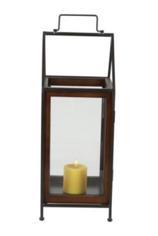 Rectangular Wood Glass Candle