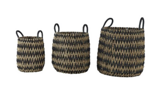 Handwoven Black & Brown Seagrass Basket Planters (Set of 3)