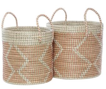 Round Seagrass Storage Baskets (Set of 2)