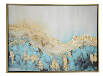 Turquoise & Gold Framed Canvas Art