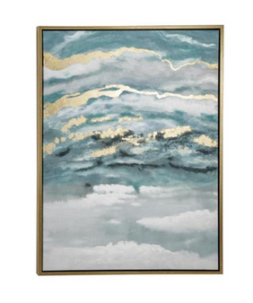 Turquoise & Gold Abstract Framed Canvas