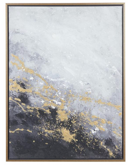 Dark Grey & Gold Abstract Canvas Painting