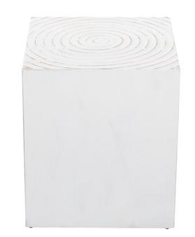 Rectangular White Wood Stool