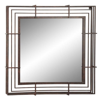 Square Brown Framed Wall Mirror