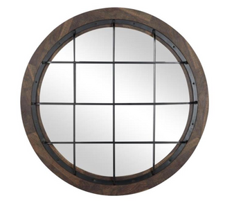 Industrial Round Wall Mirror