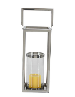 Stainless Steel and Clear Glass Lantern Candle Holder