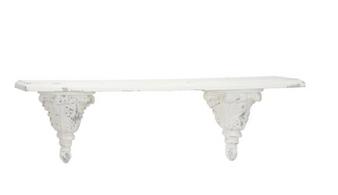White Wood Floating Wood Shelf