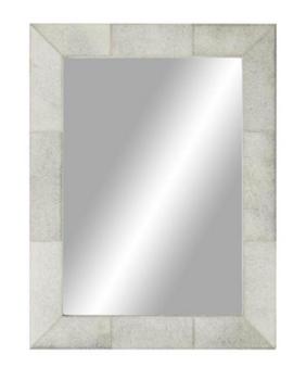 Grey Leather Wall Mirror