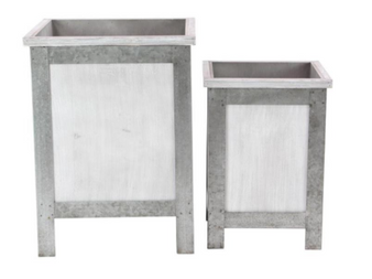 Grey & White Planters (Set of 2)