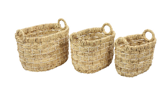 Handmade Natural Wicker Storage Baskets (Set of 3)