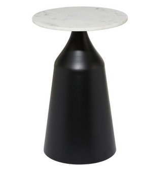 Round Light Marble Accent Table