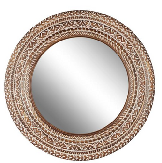 White & Natural Wood Carved Wall Mirror