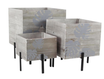Light Wood Planters (Set of 3)