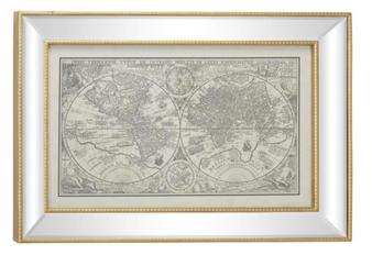 Vintage Style World Map Illustration Textile Wall Art