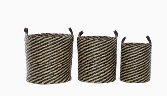 Round Brown Seagrass Storage Baskets (Set of 3)