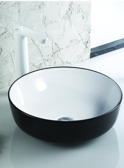 Countertop Art Basin in Black and White