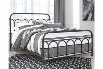 Nashburg Queen Metal Bed in Black