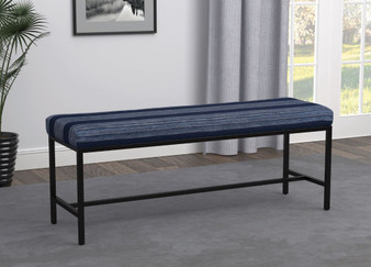 """918520 48"""" Upholstered Bench in Gunmetal and Blue"""