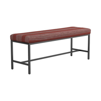 Upholstered Bench in Gunmetal and Red