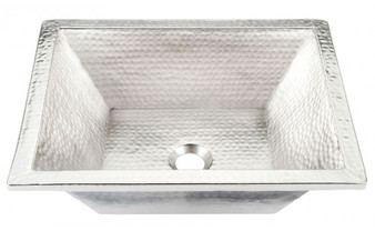Handcrafted Hammered Nickel Rectangular Bathroom Sink