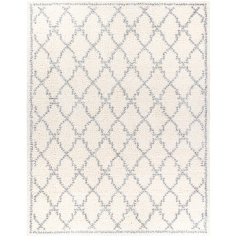 """Deluxe Shag 7'10"""" x 10'3"""" Large Rug in Multi (White)"""