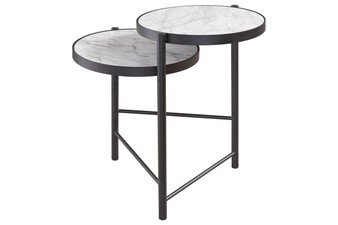 Plannore End Table in Black and White