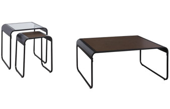 Larzeny Table Set in Brown and Black