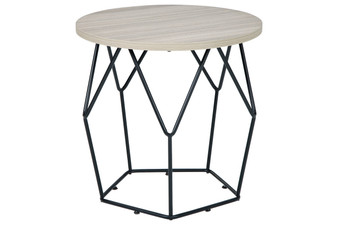 Waylowe End Table in Light Brown and Black