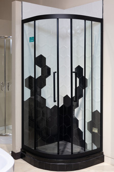 Shower Enclosure with Tempered Glass in Black