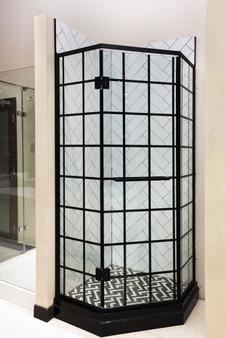 Tempered Glass Shower Enclosure in Black