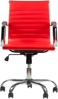 Red Mid-Back Leather Swivel Office Chair