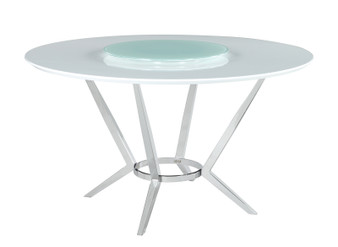 Abby Dining Table Set in Light Grey and Chrome