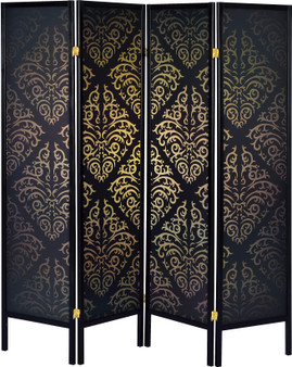 4 Panel Damask Folding Screen in Black and Gold