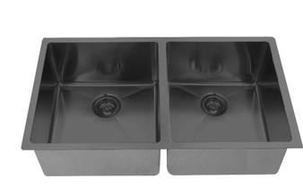 "32"" Undermount Double Kitchen Sink in Black Stainless"