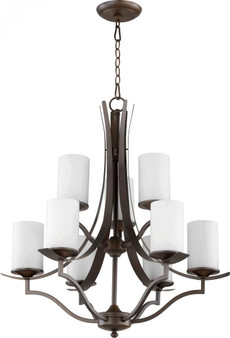 Atwood 9 Light Chandelier in Oiled Bronze