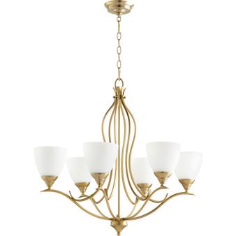 Flora 6 Light Chandelier in Aged Brass
