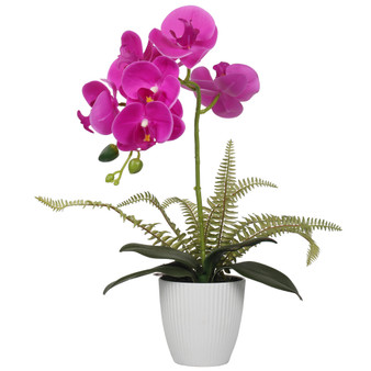 """Potted 15"""" Orchids Artificial Tree In Fuchsia"""