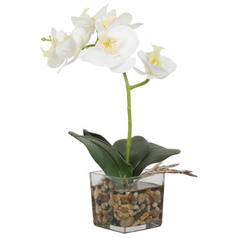 """Potted 13"""" Orchids Artificial Tree In White"""